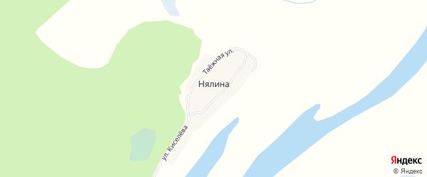 Карта деревни Нялина в Ханты-Мансийском автономном округе с улицами и номерами домов