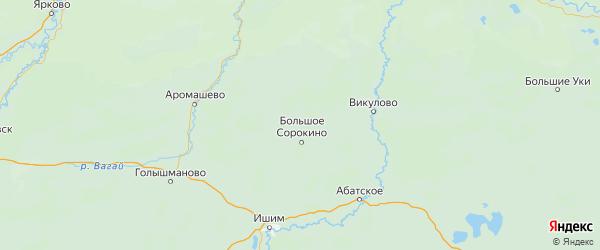 Карта Сорокинского района Тюменской области с городами и населенными пунктами
