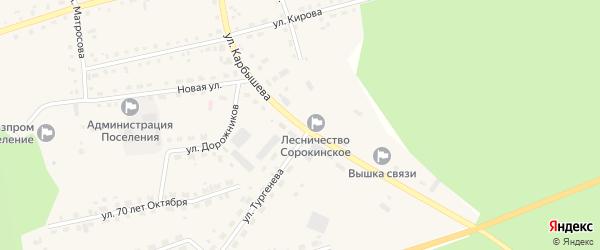 Улица Карбышева на карте села Большое Сорокино Тюменской области с номерами домов