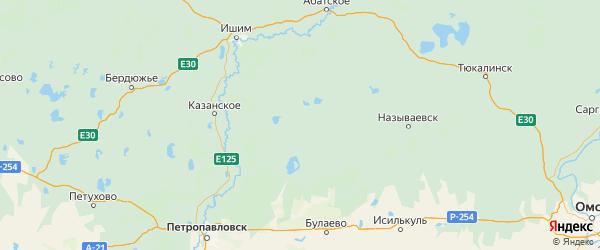 Карта Сладковского района Тюменской области с городами и населенными пунктами