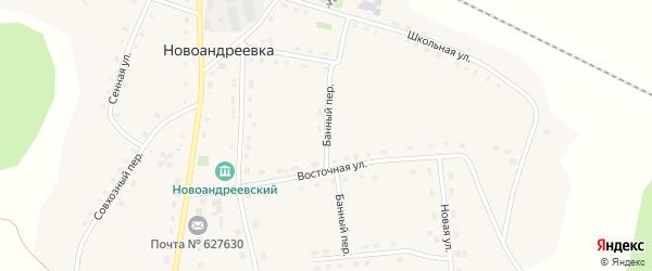 Банный переулок на карте деревни Новоандреевки Тюменской области с номерами домов