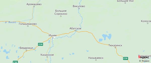 Карта Абатского района Тюменской области с городами и населенными пунктами