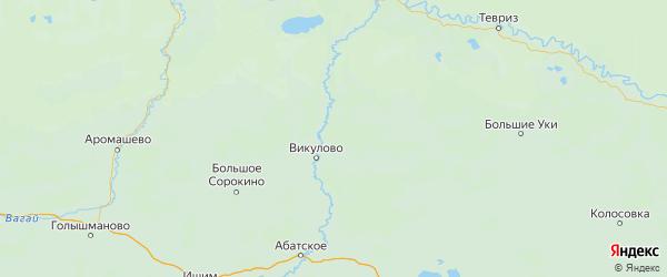 Карта Викуловского района Тюменской области с городами и населенными пунктами
