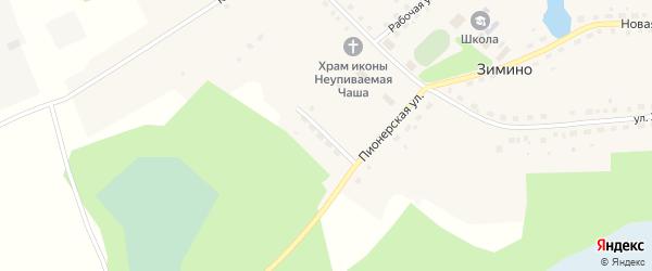 Улица Животноводов на карте села Зимино Омской области с номерами домов