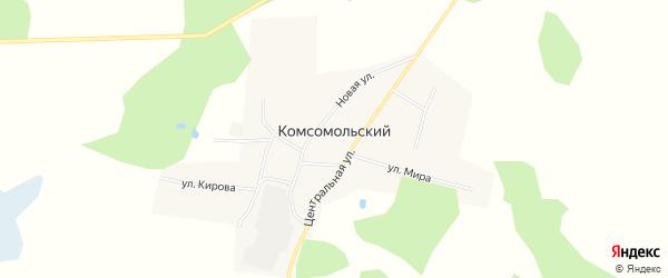 Карта Комсомольского поселка в Омской области с улицами и номерами домов