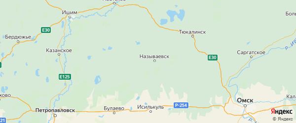Карта Называевского района Омской области с городами и населенными пунктами