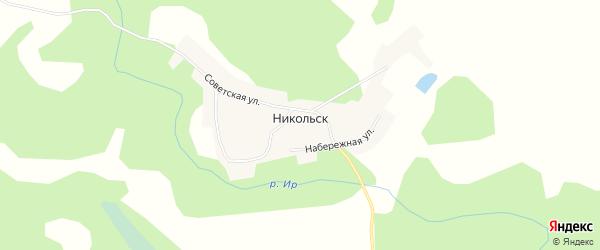 Карта деревни Никольска в Омской области с улицами и номерами домов