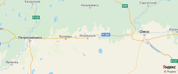 Карта Исилькульского района Омской области с городами и населенными пунктами