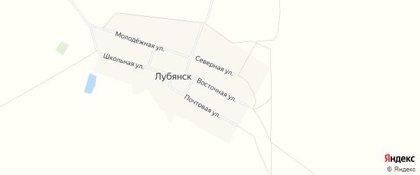 Карта деревни Лубянска в Омской области с улицами и номерами домов