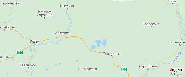 Карта Крутинского района Омской области с городами и населенными пунктами