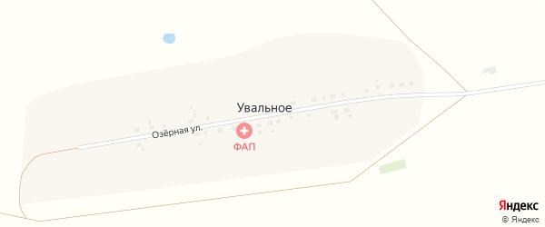 Озерная улица на карте деревни Увального Омской области с номерами домов