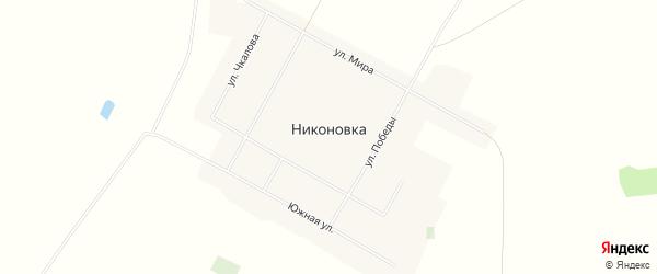 Карта села Никоновки в Омской области с улицами и номерами домов