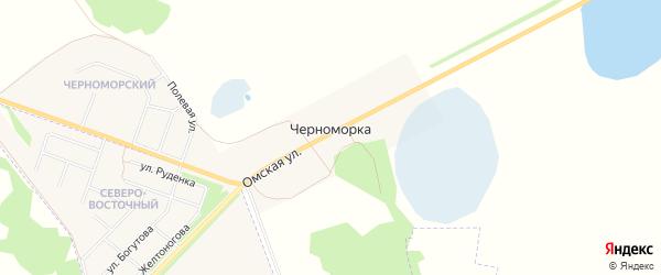 Карта деревни Черноморки в Омской области с улицами и номерами домов