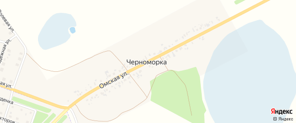 Омская улица на карте деревни Черноморки Омской области с номерами домов