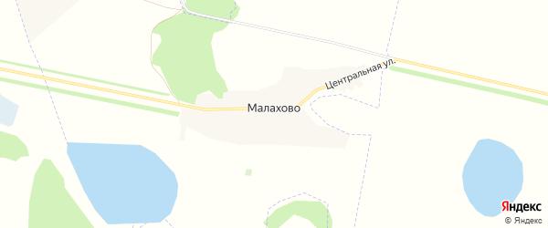 Карта деревни Малахово в Омской области с улицами и номерами домов