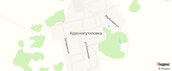 Карта деревни Краснопутиловки в Омской области с улицами и номерами домов