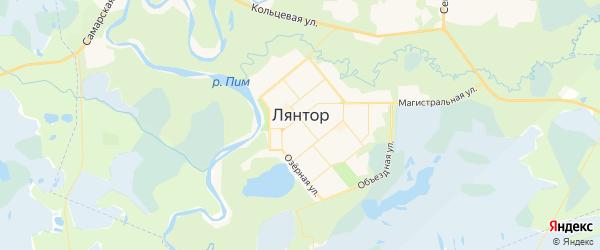 Карта Лянтора с районами, улицами и номерами домов