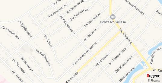 Улица Николая Островского в Тюкалинске с номерами домов на карте. Спутник и схема онлайн