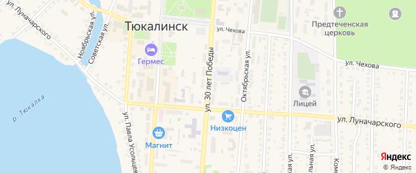 Улица Дружбы на карте Тюкалинска с номерами домов