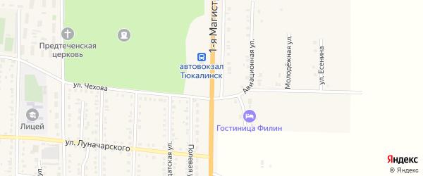 Магистральная 1-я улица на карте Тюкалинска с номерами домов