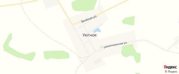Карта деревни Уютного в Омской области с улицами и номерами домов