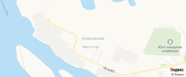 Карта Прибрежного микрорайона города Нефтеюганска в Ханты-Мансийском автономном округе с улицами и номерами домов