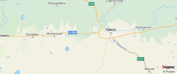 Карта Марьяновского района Омской области с городами и населенными пунктами