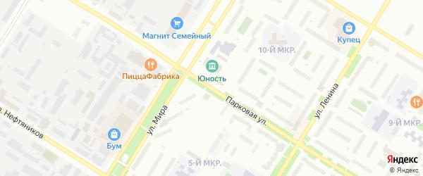 Парковая улица на карте Нефтеюганска с номерами домов