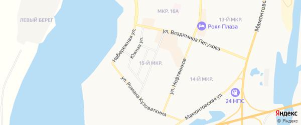 Карта 15-й микрорайона города Нефтеюганска в Ханты-Мансийском автономном округе с улицами и номерами домов