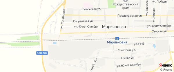 Карта железнодорожной остановки Татьяновского в Омской области с улицами и номерами домов