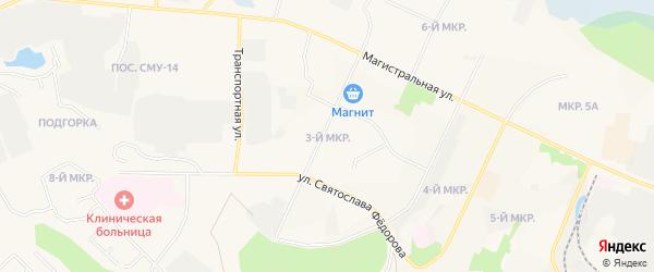 Карта 3-й Кедрового микрорайона города Пыти-Ях в Ханты-Мансийском автономном округе с улицами и номерами домов
