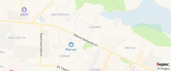 Карта 6 Пионерного микрорайона города Пыти-Ях в Ханты-Мансийском автономном округе с улицами и номерами домов