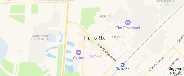 Карта территории Строителя города Пыти-Ях в Ханты-Мансийском автономном округе с улицами и номерами домов