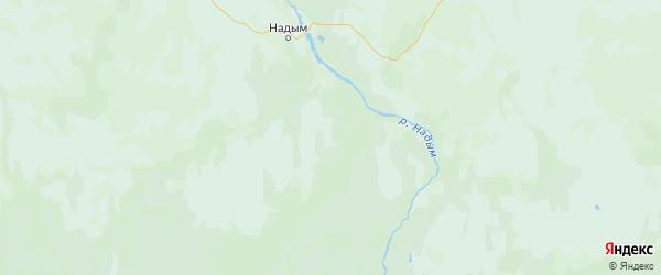 Карта Надымского района Ямало-ненецкого автономного округа с городами и населенными пунктами