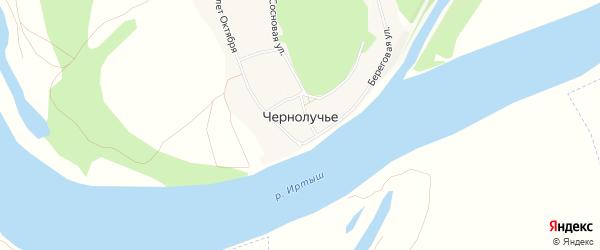 Карта села Чернолучья в Омской области с улицами и номерами домов