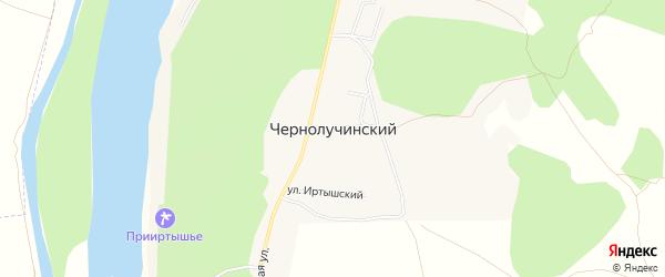 Карта Чернолучинского поселка в Омской области с улицами и номерами домов