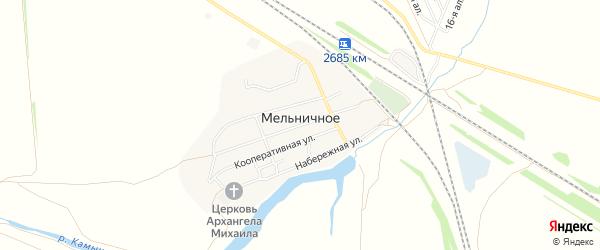 Карта Мельничного села в Омской области с улицами и номерами домов