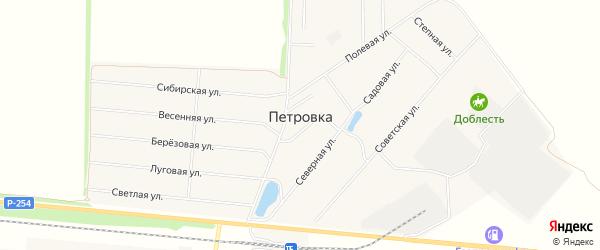 Карта деревни Петровки в Омской области с улицами и номерами домов