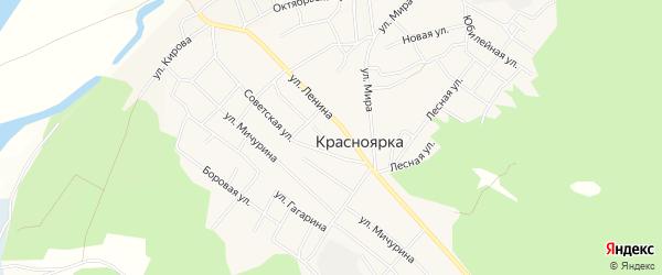 Карта села Красноярки в Омской области с улицами и номерами домов