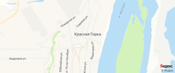 Карта села Красной Горки в Омской области с улицами и номерами домов