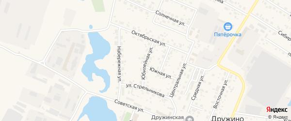 Юбилейная улица на карте села Дружино Омской области с номерами домов