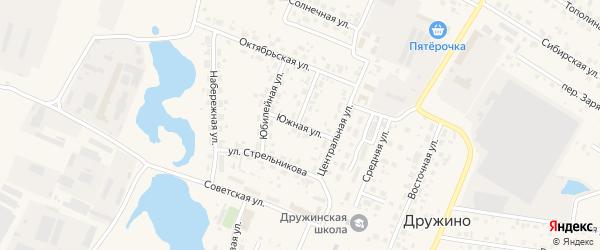 Южная улица на карте села Дружино Омской области с номерами домов