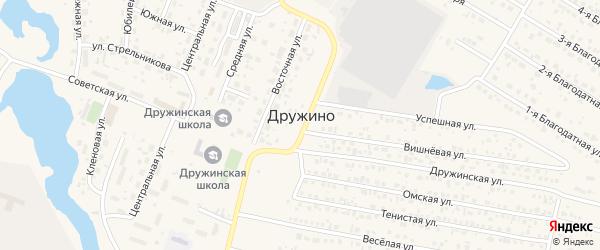 Территория СНТ Факел-1 на карте села Дружино Омской области с номерами домов