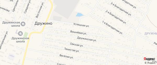 Вишневая улица на карте села Дружино Омской области с номерами домов