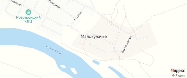 Карта деревни Малокулачья в Омской области с улицами и номерами домов