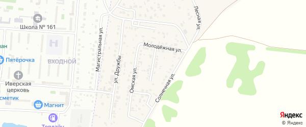 Весенняя улица на карте Приветной деревни Омской области с номерами домов