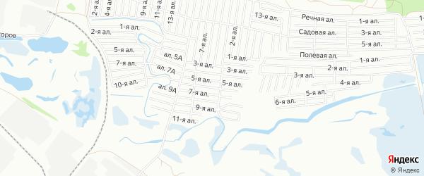 Карта поселка сдт Солнечное (КАО) города Омска в Омской области с улицами и номерами домов