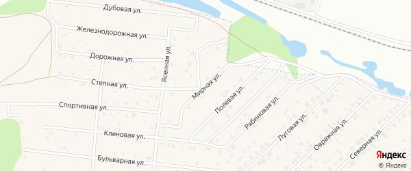 Мирная улица на карте Магистрального поселка Омской области с номерами домов