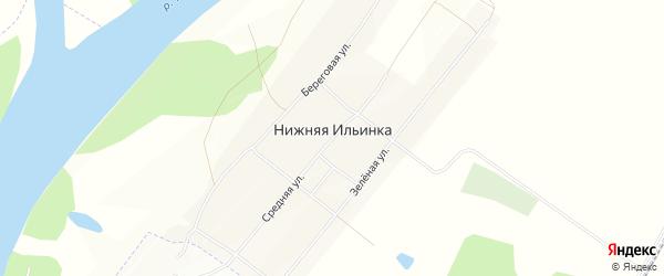 Карта деревни Нижней Ильинки в Омской области с улицами и номерами домов
