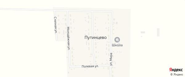 Улица 70 лет Октября на карте деревни Путинцево Омской области с номерами домов
